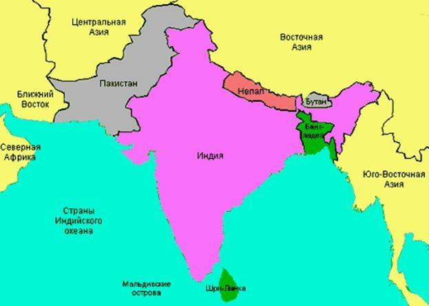 Карта стран Южной Азии
